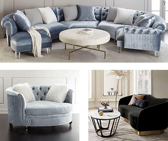 Haute House Varianne Curved Sectional Sofa and Tufted Cuddle Chair from Neiman Marcus, Robey Charcoal Velvet Curved Sofa from CB2
